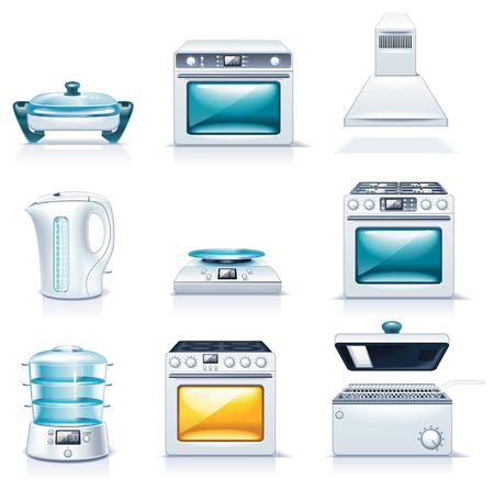 kettles: Iconos de electrodom�sticos de vector. Parte 2
