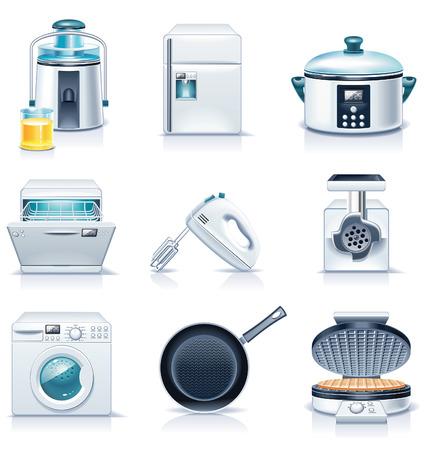 slow food: Icone di elettrodomestici del vettore. Parte 3 Vettoriali