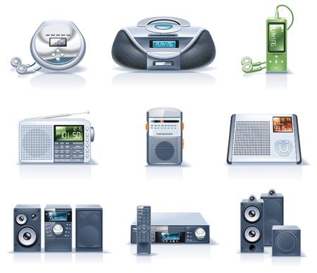 portable radio: Iconos de electrodom�sticos de vector. Parte 8