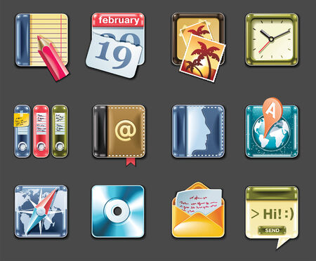 Vector universal square icons. Part 1 (gray background) Vector