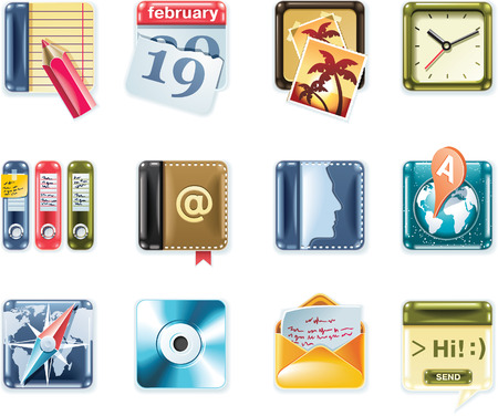Vector universal square icons. Part 1 (white background) Vector
