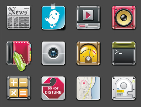 data storage device: Vector universal square icons. Part 2 (gray background)