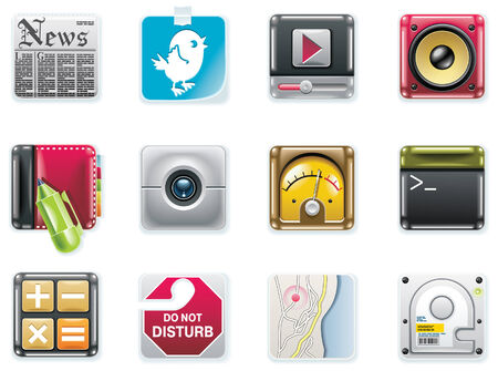 data storage device: Vector universal square icons. Part 2 (white background)