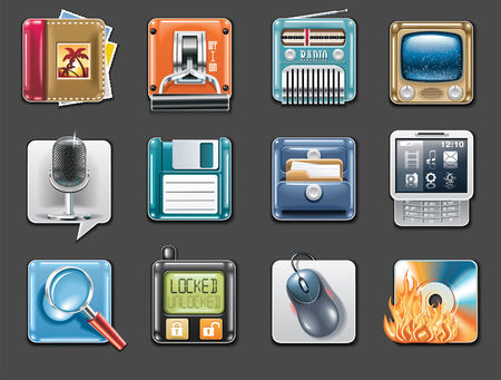 Vector universal square icons. Part 3 (gray background) Vector