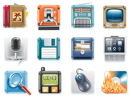 Vector universal square icons. Part 3 (white background) Stock Vector - 6085850