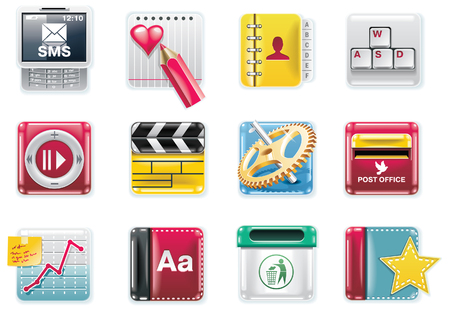 Vector universal square icons. Part 4 (white background) Vector