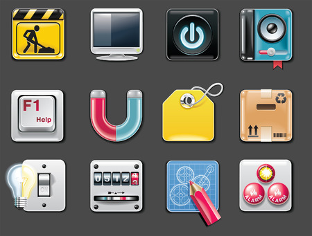gear box: Vector universal square icons. Part 5 (gray background)