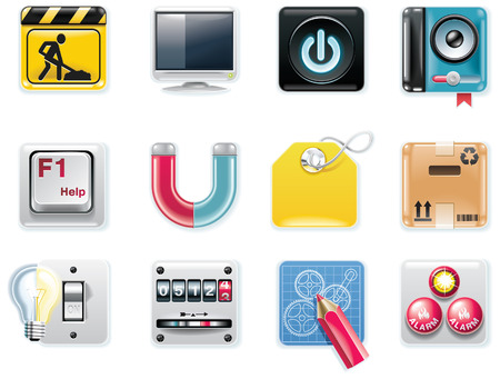 Vector universal square icons. Part 5 (white background)  Vector