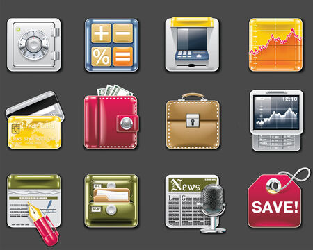 billfold: Vector universal square icons. Part 6. Banking (gray background)