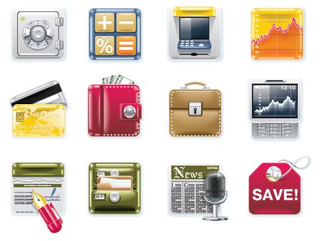 billfold: Vector universal square icons. Part 6. Banking (white background)