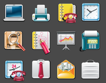 Vector universal square icons. Part 9. Business and office (gray background) Stock Vector - 6124508