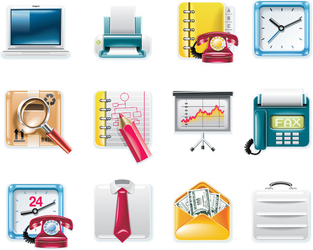 Vector universal square icons. Part 9. Business and office (white background) Vector