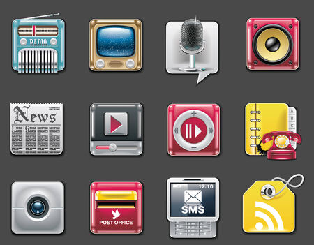 universal: Vector universal square icons. Part 7. Media and communications (gray background)