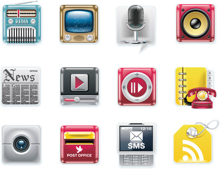 information medium: Vector universal square icons. Part 7. Media and communications (white background)
