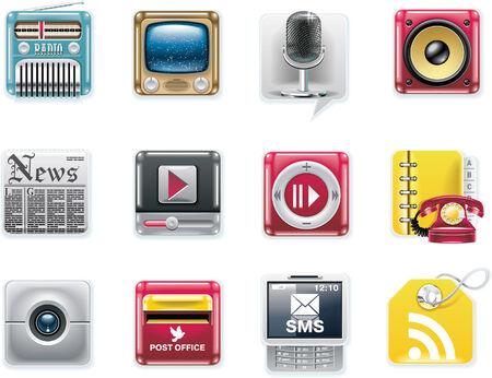 보편적 인: Vector universal square icons. Part 7. Media and communications (white background)