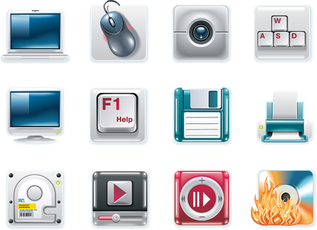 Vector universal square icons. Part 8. Computers (white background) Stock Vector - 6124509