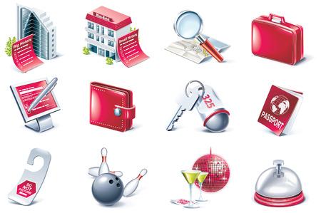 overnight: Set di icone vettoriali hotel servizio