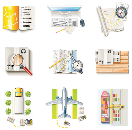 Vector freight transportation and logistic service icon set. Part 1 Stock Vector - 6138078