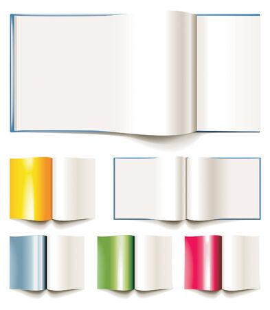 encyclopedias: Conjunto de vectores en blanco libros, folletos o revistas abri�