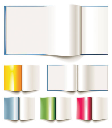 opened: Set of vector blank books, brochures or magazines opened Illustration