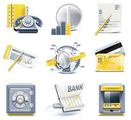 bank overschrijving: Vector iconen van bedrijfs- en kantoor. Deel 2  Stock Illustratie