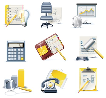 Vector business and office icons. Part 3 Stock Vector - 6161711