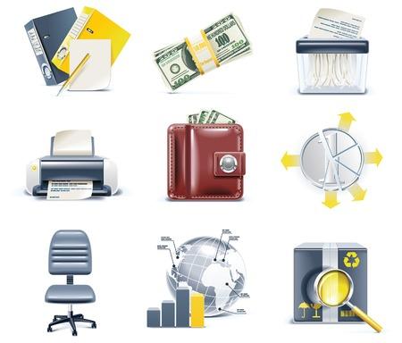 バンキング: ベクトルのビジネスおよびオフィスのアイコン。パート 4