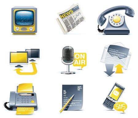 Vector communication icon set. Media