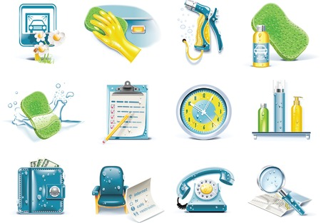 car wash service icon set Vector