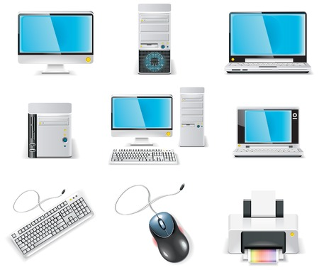 office desktop: white computer icon set. Part 1. PC Illustration