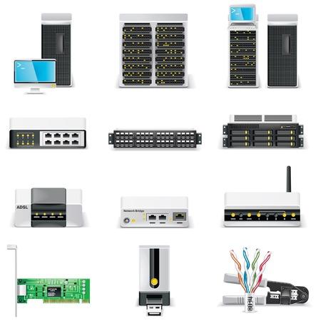 dsl: set di icone computer bianco. Parte 2. Collegamento in rete  Vettoriali
