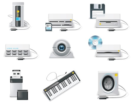 usb storage device: white computer icon set. Part 3. USB devices Illustration