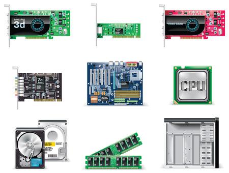 circuitboard: Set di icone vettoriali bianco computer. Parte 4. Parti di computer
