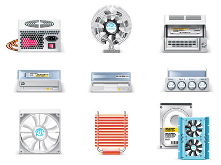 hardware configuration: Vector white computer icon set. Part 5. Computer parts Illustration