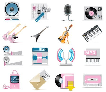 audio and music icon set Illustration