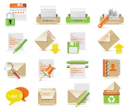 outbox:  e-mail icon set Illustration