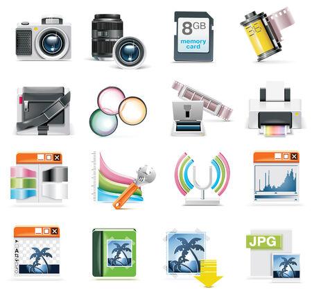 conjunto de iconos de la fotografía  Ilustración de vector