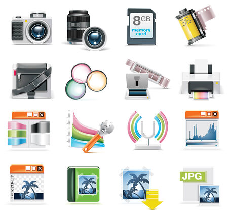 photography icon set Stock Vector - 6354786