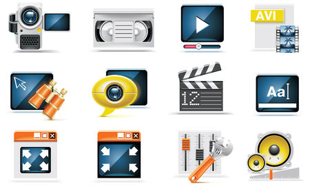 edit icon: video icon set Illustration