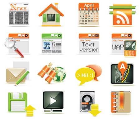 features:  web page icon set Illustration