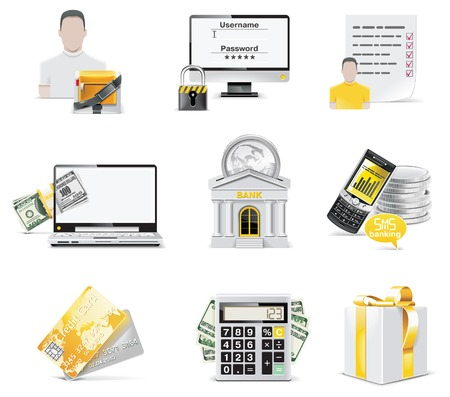 Vector online banking icon set. Part 2 Stock Vector - 6392203