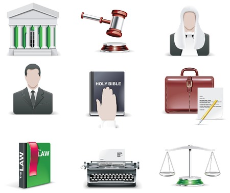 prosecutor: law and order icon set. Part 1 Illustration