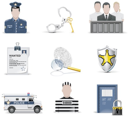 prosecutor: law and order icon set. Part 2 Illustration