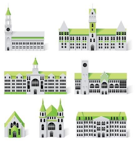 church building: City map creation kit (DIY). Part 6. Buildings Illustration