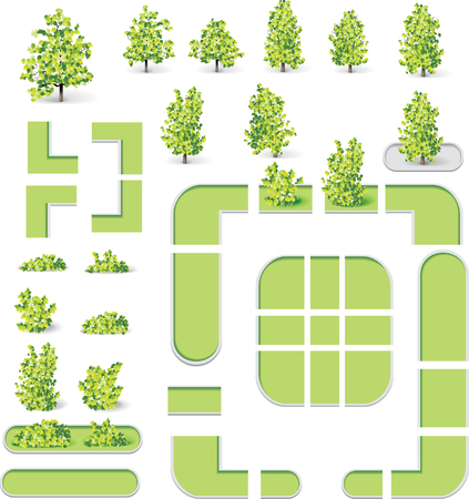urban planning: City map creation kit (DIY). Part 9. Parks and lawns Illustration