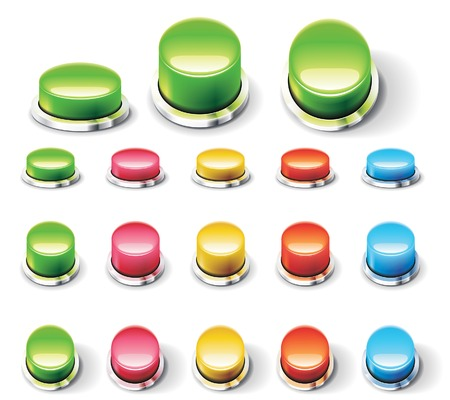 Set of glossy empty buttons. Different colors and angles of view Stock Vector - 6588764