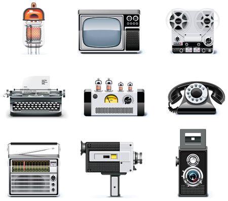 Vintage Technologien Symbol Satz Vektorgrafik
