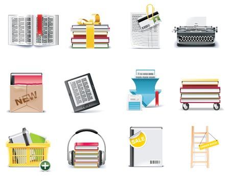 図書館: ベクトル ライブラリおよび本ストアのアイコンを設定