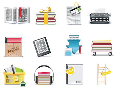 Vector library and book store icon set Vector
