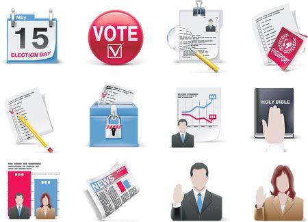 canvass: Conjunto de icono de votaci�n y elecci�n de vector